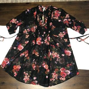 American Rag sheer black floral shirt small